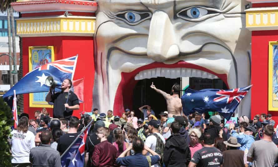 Far-right protesters at Luna Park in Melbourne