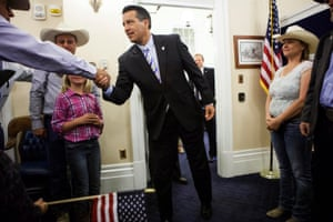 Brian Sandoval greets ranching families at the Nevada State Capitol.