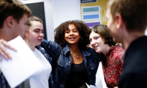 Sixth-form students receiving their A-level results at a school in London