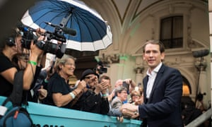 Austrian chancellor Sebastian Kurz arrives for an election party, as his ÖVP party tops the polls, according to estimated results.