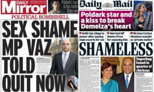 How the Daily Mirror and Daily Mail headlined the Keith Vaz story.