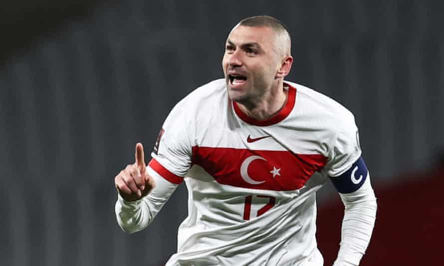 Burak Yilmaz celebrates one of his three goals.