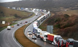 Lorries queue on the A20 in Kent earlier this year