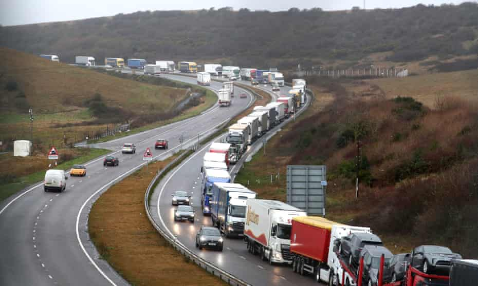 Lorries queuing on the A20 in Kent earlier this year.