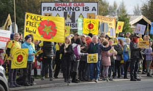 Environmental protesters demonstrate against decision to approve fracking in Lancashire