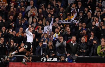 Ferran Torres celebrates after scoring for Valencia against Villarreal at Mestalla in November 2019.