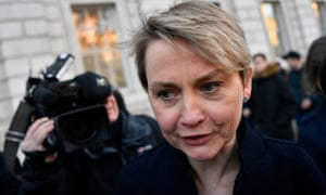 Yvette Cooper after leaving cross-party talks in the Cabinet Office on Friday