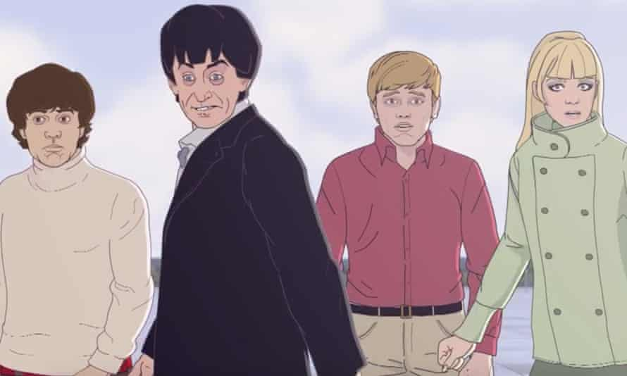 The Doctor Who 'fam' from 1967 in cartoon form - Jamie, the Doctor, Ben and Polly.