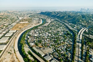 The Los Angeles River winds through Frogtown, a working class community isolated between the river and the I-5 Freeway