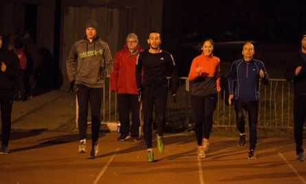 Pete McLeod (centre) found friendship when he joined a running club