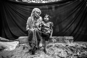 Rohingya refugee Noor, with daughter
