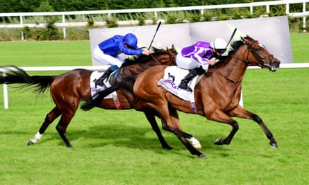 Magical beats Ghaiyyath to win the Group One Irish Champion Stakes in September.