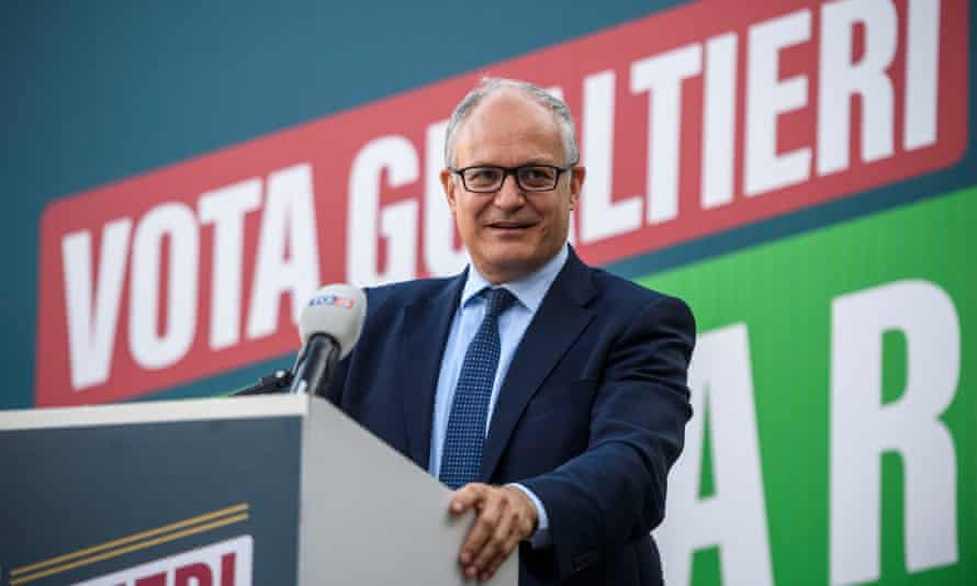The centre-left mayoral candidate Roberto Gualtieri.
