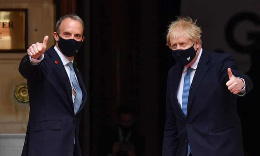 Boris Johnson and Dominic Raab arriving at the G7 summit in London, 5 May.