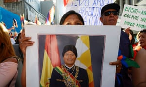 Supporters of Evo Morales attend a march in Buenos Aires, Argentina.