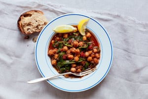 Silky and mineral-rich: Thomasina Miers' chickpea, black pudding and spinach ragu.