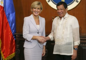 Australian foreign minister Julie Bishop met Philippine president Rodrigo Duterte at Malacanang Palace in Manila.