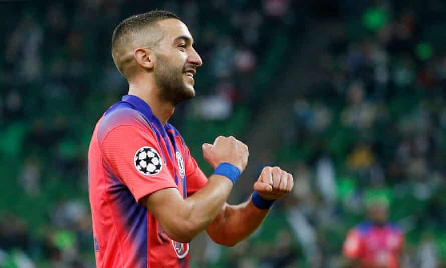 Hakim Ziyech celebrates after scoring for Chelsea against Krasnodar in the Champions League on Wednesday.