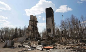 The devastated neighbourhood of Abasand has been ravaged by a wildfire in Fort McMurray, Alberta.