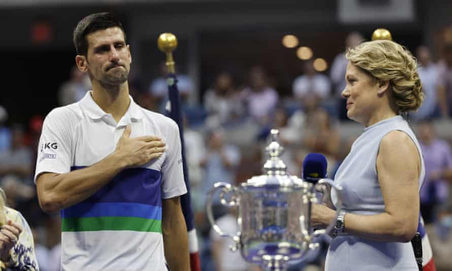 An emotional Novak Djokovic thanks the crowd after his US Open final defeat to Daniil Medvedev.