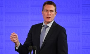 Social services minister Christian Porter delivers his address to the National Press Club in Canberra.
