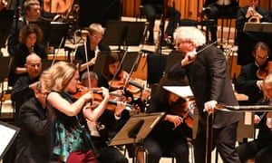 Simon Rattle, violinist Leila Josefowicz and the LSO in action at the Barbican on Saturday.