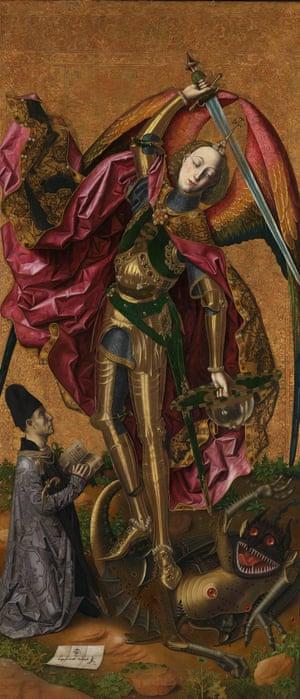 Militant … Saint Michael Triumphant Over the Devil, 1468 – as the painter's patron, Antoni Joan, looks on.