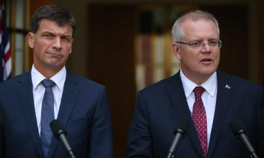 Energy Minister Angus Taylor with Prime Minister Scott Morrison