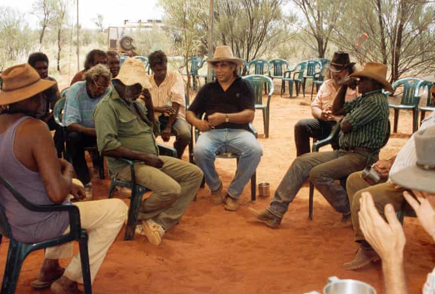 Indigenous activist Tracker Tilmouth speaks to a community