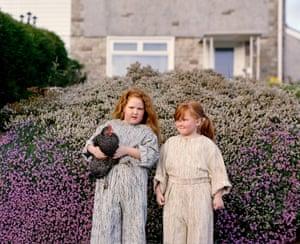 Kyra and Evie, Age 6 and 7, Twynyrrodyn Wearing Agi and Sam