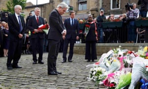 John Bercow, speaker of the House of Commons pays his respect near the scene where Jo Cox was killed