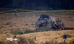The scene of the car bomb that killed Daphne Caruana Galizia.