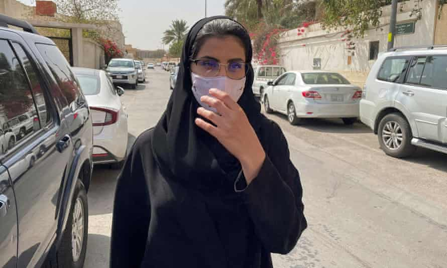 Loujain al-Hathloul makes her way to an appeals hearing in Riyadh in March
