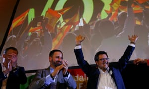 Spain's far-right Vox party leader Santiago Abascal and regional candidate Francisco Serrano celebrate after the Andalusian regional elections in December.