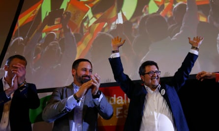 Vox party politicians celebrate the election results in Andalucía