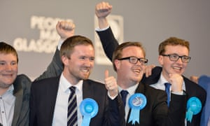 Conservative party members celebrate in Glasgow