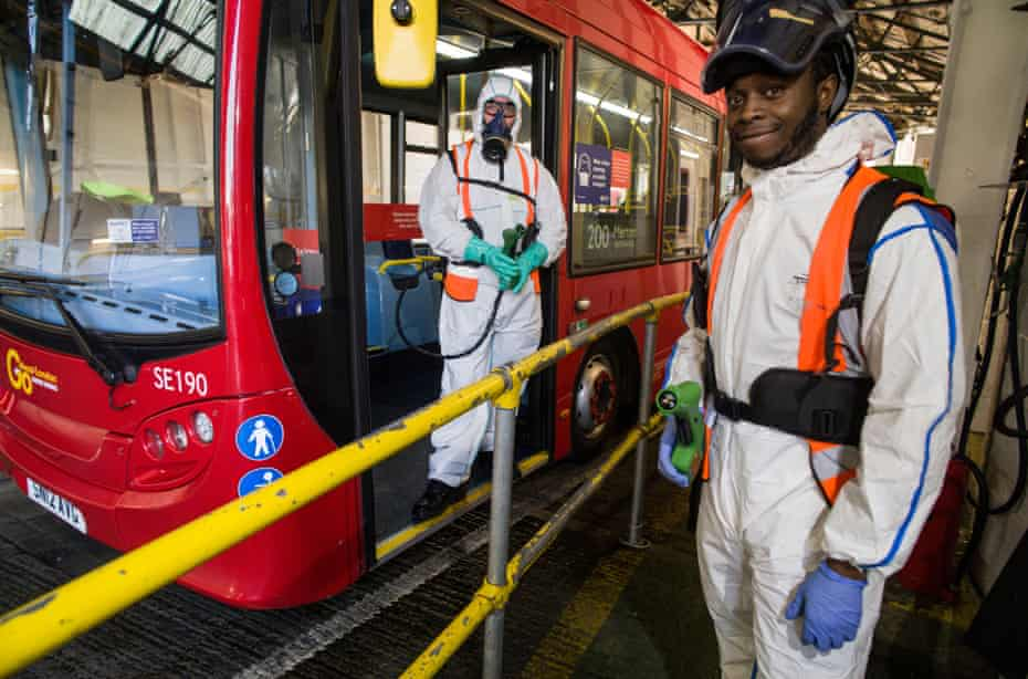 Aaron Crichlow and Paul Storey are part of the team doing the anti Covid spraying . This is on top of the daily touch point and general cleaning of the buses.