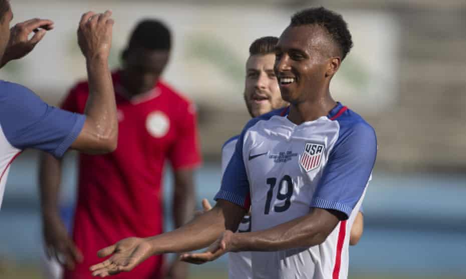 Julian Green celebrates scoring the second and final goal against Cuba.