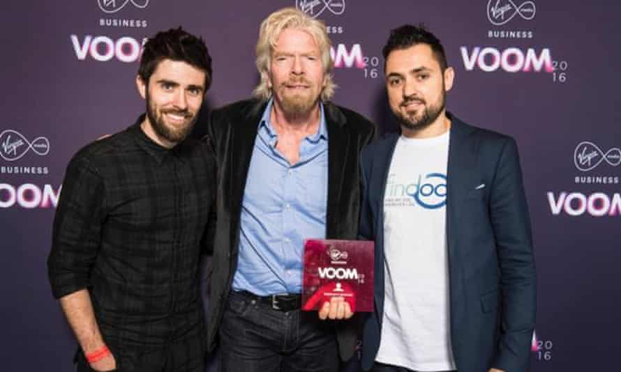 Xavier (right) with Richard Branson at the Virgin Media Business #VOOM 2016 Live Finale