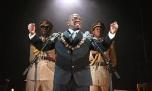 Chris Obi (Giri), Msamati (Arturo Ui) and Nysha Hatendi (Givola) in The Resistible Rise of Arturo Ui at the Lyric Hammersmith in 2008