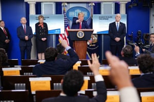 Trump speaks during the daily briefing on the novel coronavirus in the Brady Briefing Room at the White House.