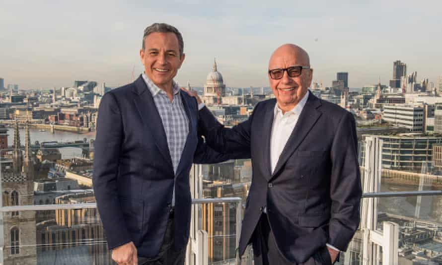 Bob Iger, the Walt Disney chairman and chief executive, with Rupert Murdoch in London.