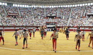 Bullfighters entering the San Sebastián arena  before the ban, in August 2012.
