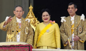 King Bhumibol Adulyadej, left, with his wife Queen Sirikit and Crown Prince Maha Vajiralongkorn in 2007.