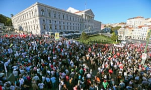 A protest outside the Portuguese parliament building in Lisbon ahead of the vote.