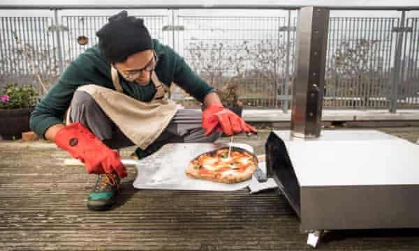 A portable pizza oven