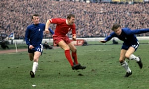 Peter Thompson, centre, beats Peter Houseman, left, and Eddie McCreadie to whip over a cross during a Liverpool v Chelsea game at Stamford Bridge.