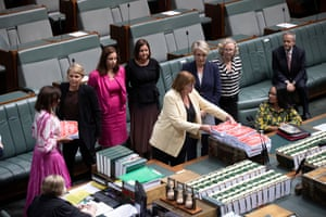 Tanya Plibersek and her colleagues table a petition from the March 4 Justice rally before QT