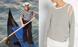 A Venice boatman and, right, MM6 Maison Margiela top, £175.