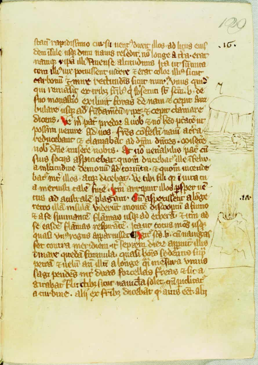The earliest image of volcano to appear in the exhibition comes from 14th-century manuscript.